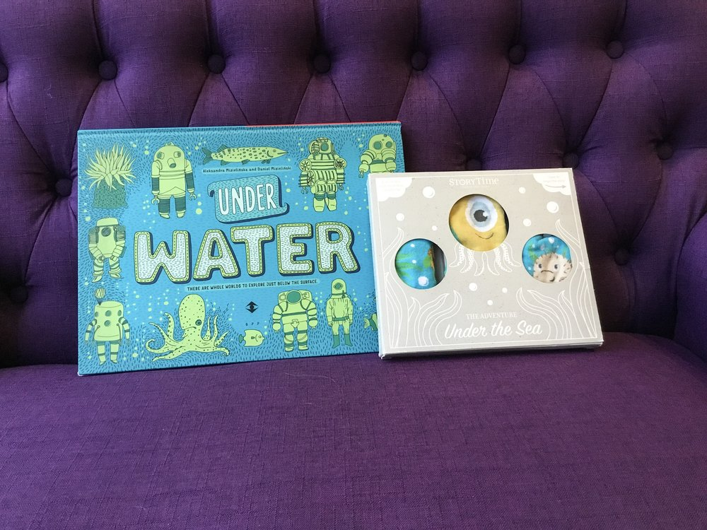 This  Under Water  book + these adorable sea-creature knee socks (Bonus: reverse the book to read  Under Earth !)