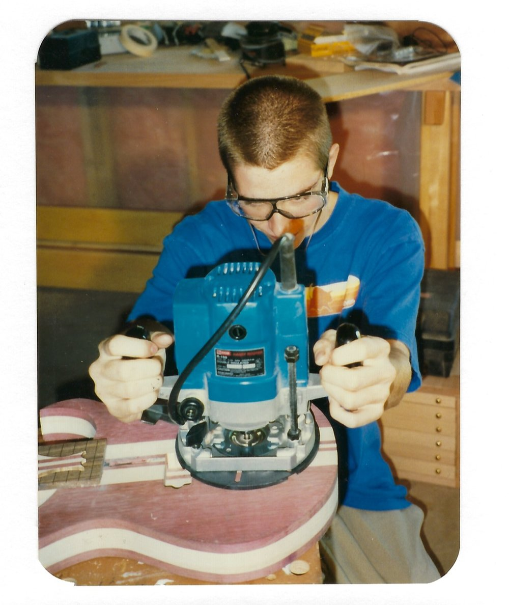 1997 - routing the pickup cavities for his first handmade guitar.
