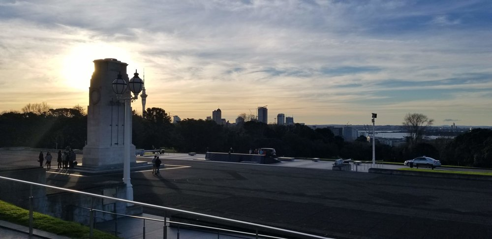 Looking out from the Auckland Museum at sunset towards downtown.