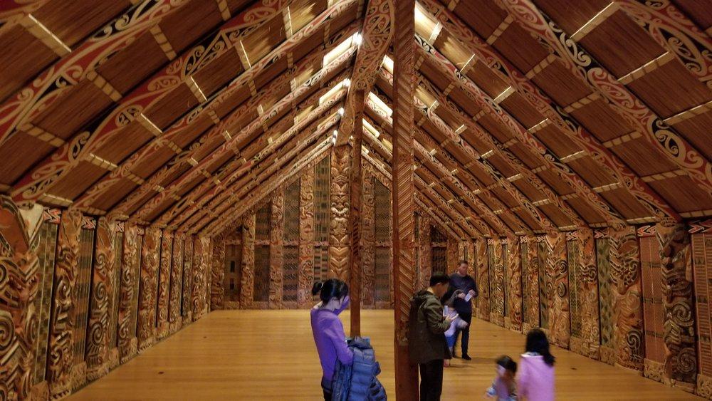 Inside the partially-restored wharenui Hotunui.