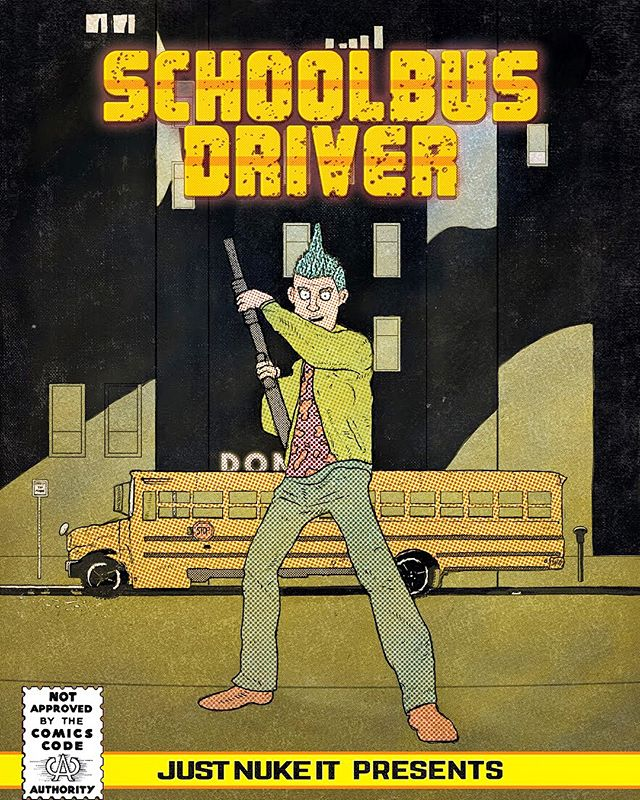 current stage of the cover art for the upcoming comic/zine 🚍SchoolBus Driver 🚌