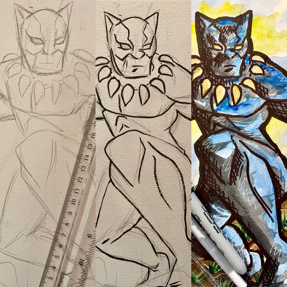 *****************THIS CLASS IS FOR T'Challa/Black Panther on SATURDAY THE 23rd. Seating is limited to 10 students for this class. Please pre-pay to secure your spot(s)!  Fee: $16 Included in fee: Professional instruction on drawing techniques and watercolor painting. All the supplies you need to create your own watercolor painting of Black Panther.  Date: Saturday February the 23rd Time: 2pm to 4pm