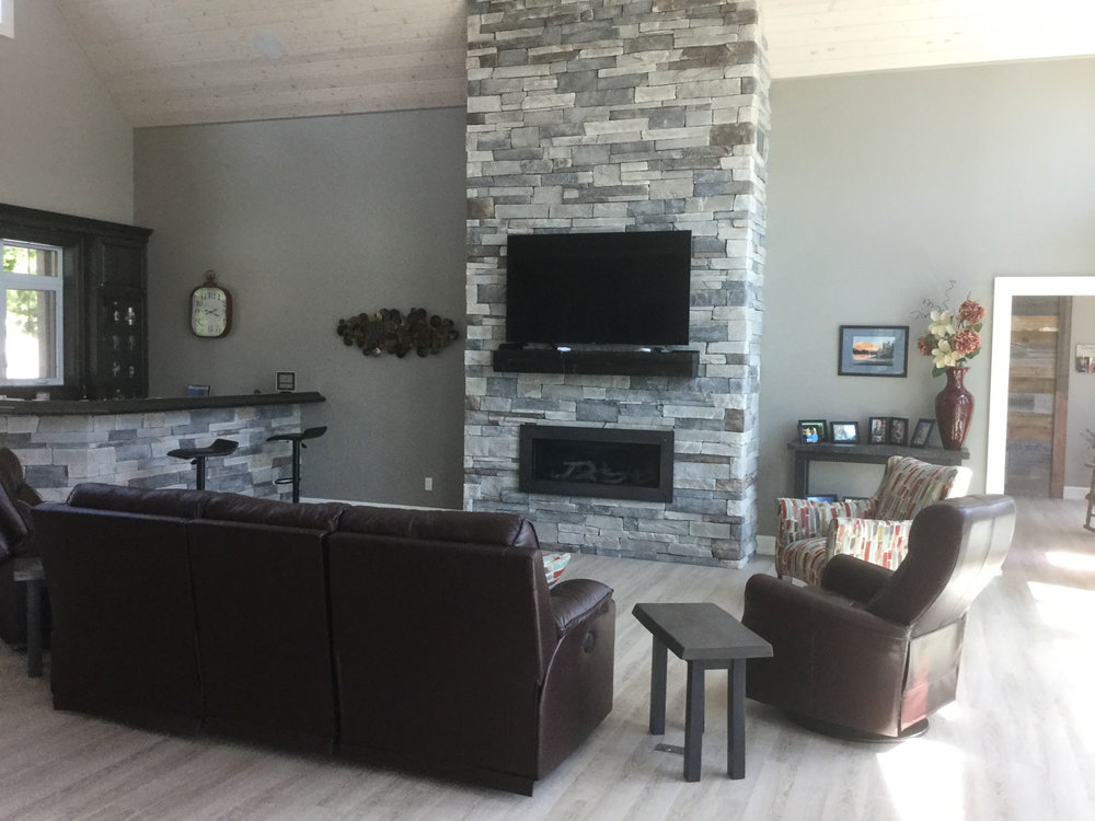 Kennisis Lake Haliburton Livingroom with Custom Fireplace