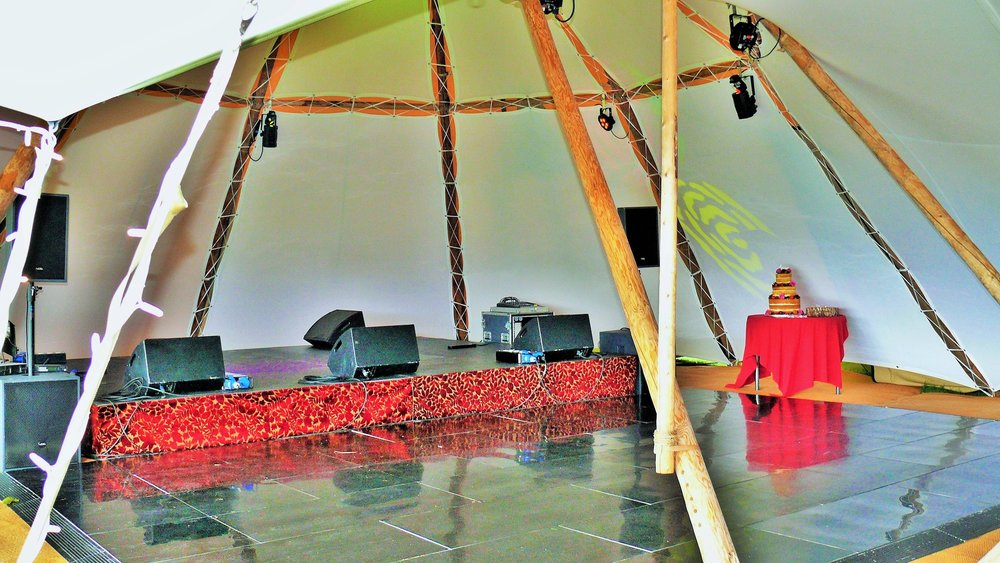 If you're looking for an audio system or dancefloor for you wedding, party, corporate event or festival, we can help. Delivery, installation and collection come as part of the package alongside our giant tipi tents.