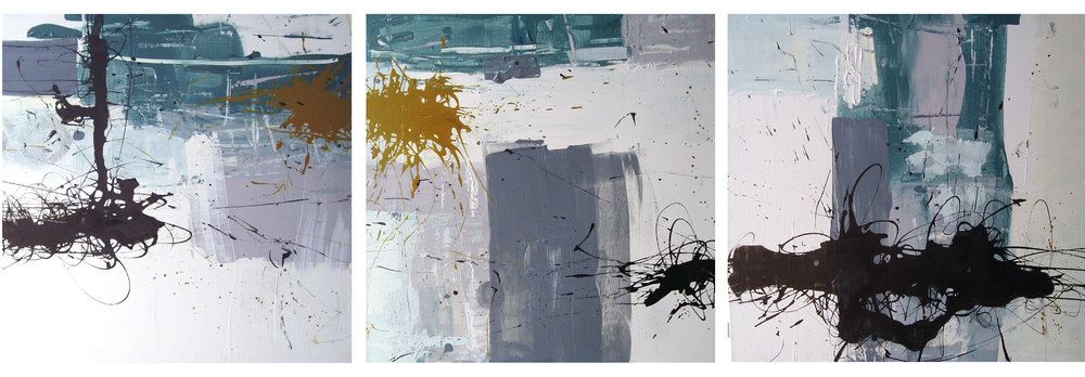 Three Rooms (triptych) , 50 x 150 cm, Chinese ink and acrylic on canvas, 2003, Private Collection