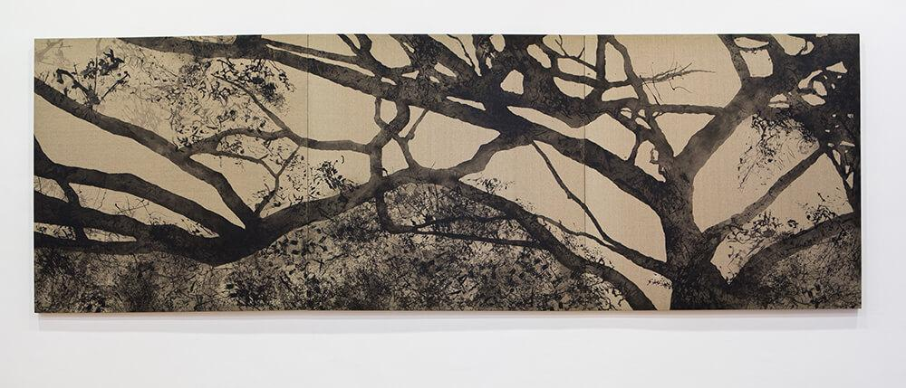 Conversations with trees 2012, silkscreen paint on linen, 450cm by 150cm. Collection of Mr Toh Ee Loong