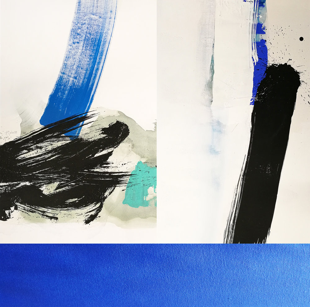 Composition #1 Triptych with Blue Stripe , 127 x 130 cm, silkscreen paint and pigments on linen, 2018