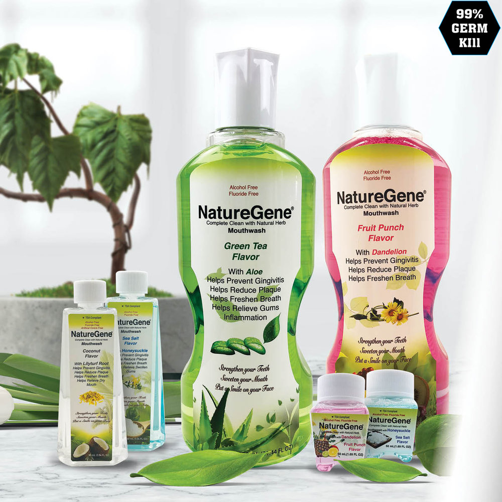 NatureGene Mouthwash - NatureGene Herbal Mouthwash, patented products, offers natural remedies for Sensitive teeth, natural Herbal ingredients and an array of new and appealing flavors.- Herbal Green Tea (Aloe)- Herbal Sea Salt (Honeysuckle)- Herbal Fruit Punch (Dandelion)- Herbal Coconut (Mondo Grass)#1 Natural Herbal Mouthwash Brand#1 Herbal Remedies for Sensitive Teeth
