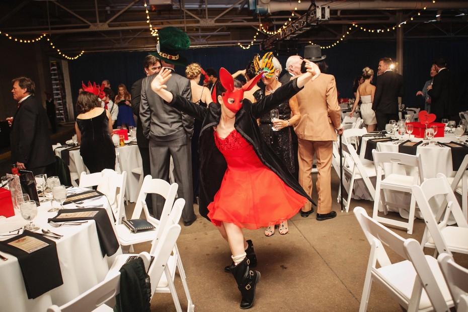 Wonderbound Hare Meredith Strathmeyer dancing during the Hare Ball at Junction Box. Photo by  Amanda Tipton, 2014