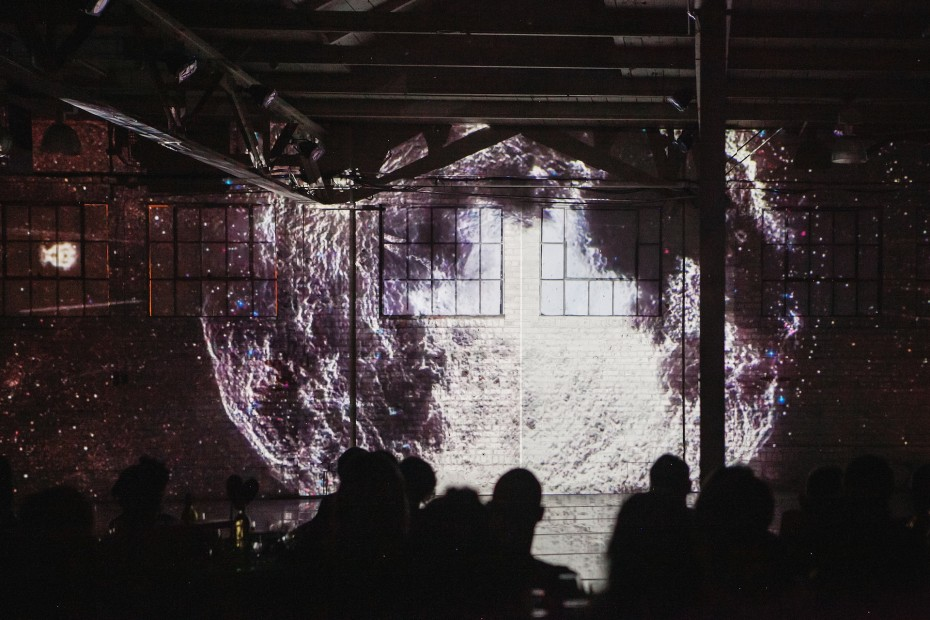 A moment from an immersive 3D projection experience produced by Kristopher Collins for the Hare Ball at Junction Box. Photo by  Amanda Tipton, 2014