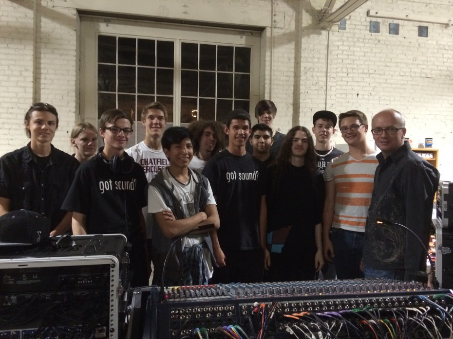 Ron Gordon (far right) with his Sound Engineering students from Warren Tech High School. Photo by  Amber Blais, 2014