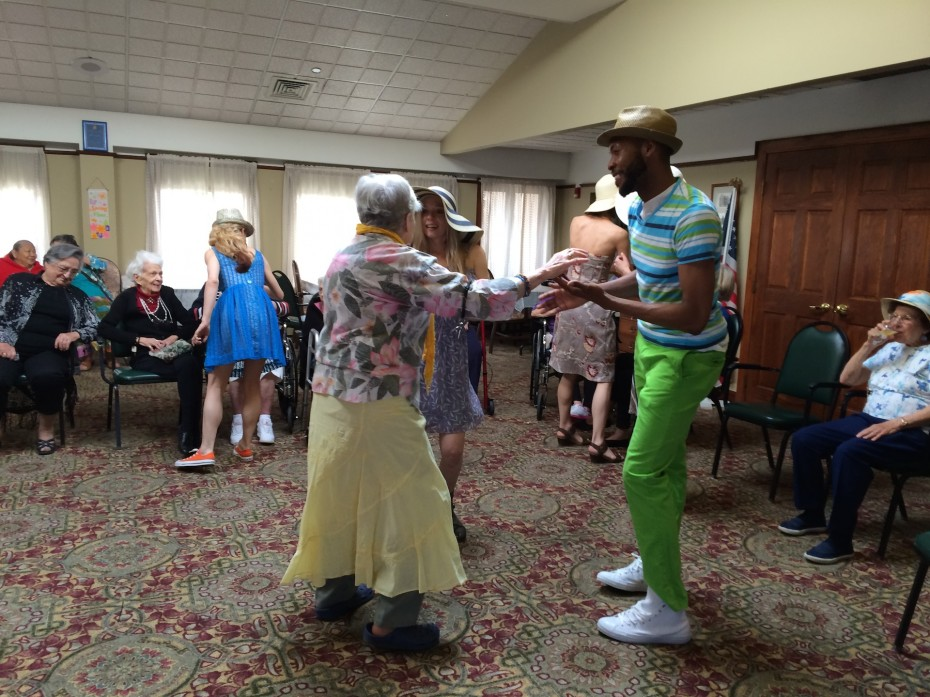 Wonderbound Company Artists dancing with residents of The Argyle. Photo by  Amber Blais, 2014