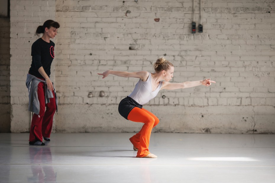 """Wonderbound Producing Director Dawn Fay working on """"Gone West"""" with Company Artist Sarah Tallman at Junction Box. Photo by  Amanda Tipton, 2014"""