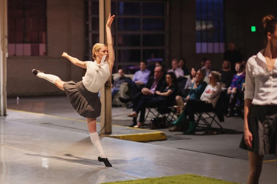 "Wonderbound Company Artist Julie King performing during ""Teaser Episode #4: Gone West at Junction Box."" Photo by  Amanda Tipton, 2014"