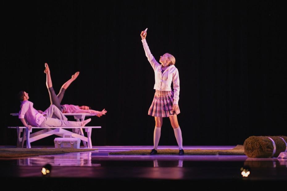 """Wonderbound Company Artists Julie King, Corbin Kalinowski and Meredith Strathmeyer in """"Gone West"""". Photo by  Amanda Tipton, 2014"""