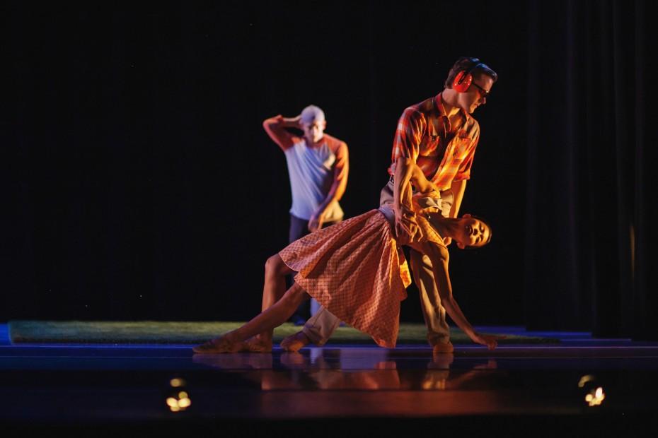 "Wonderbound Company Artists Marian Faustino, Danny Ryan and Brandon Freeman in ""Gone West"".  Photo by  Amanda Tipton, 2014"