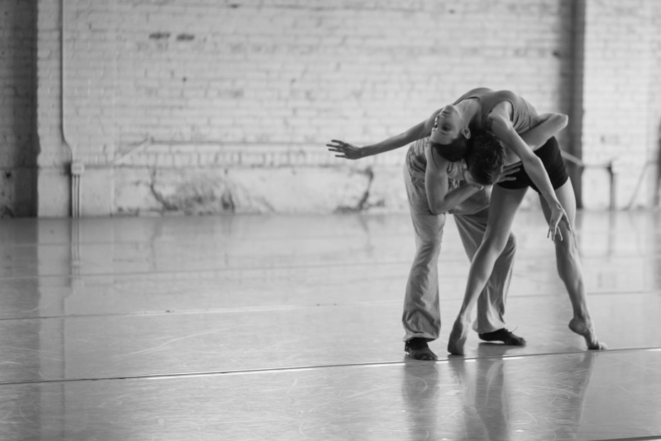 "Wonderbound Company Artists Candice Bergeron and Colby Foss in rehearsal for Garrett Ammon's ""Odessa"" at Junction Box. Photo by  Amanda Tipton"