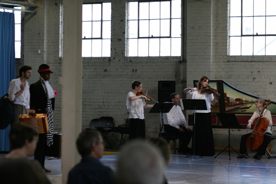 "Musicians from Baroque Chamber Orchestra of Colorado perform during ""Sketches of Marie"" at Junction Box. Photo by  Amber Blais."