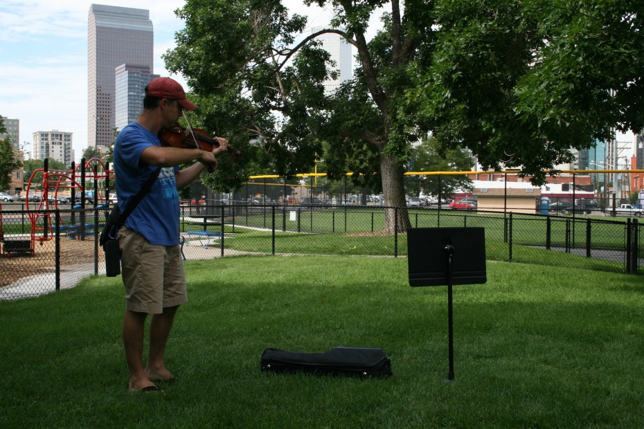 Violinist Philip Ficsor performing at Sonny Lawson Park. Photo by  Amber Blais