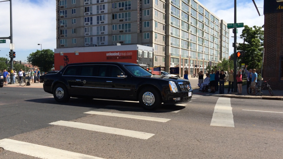 President Obama passing Junction Box in his limousine. Photo by   Amber Blais.