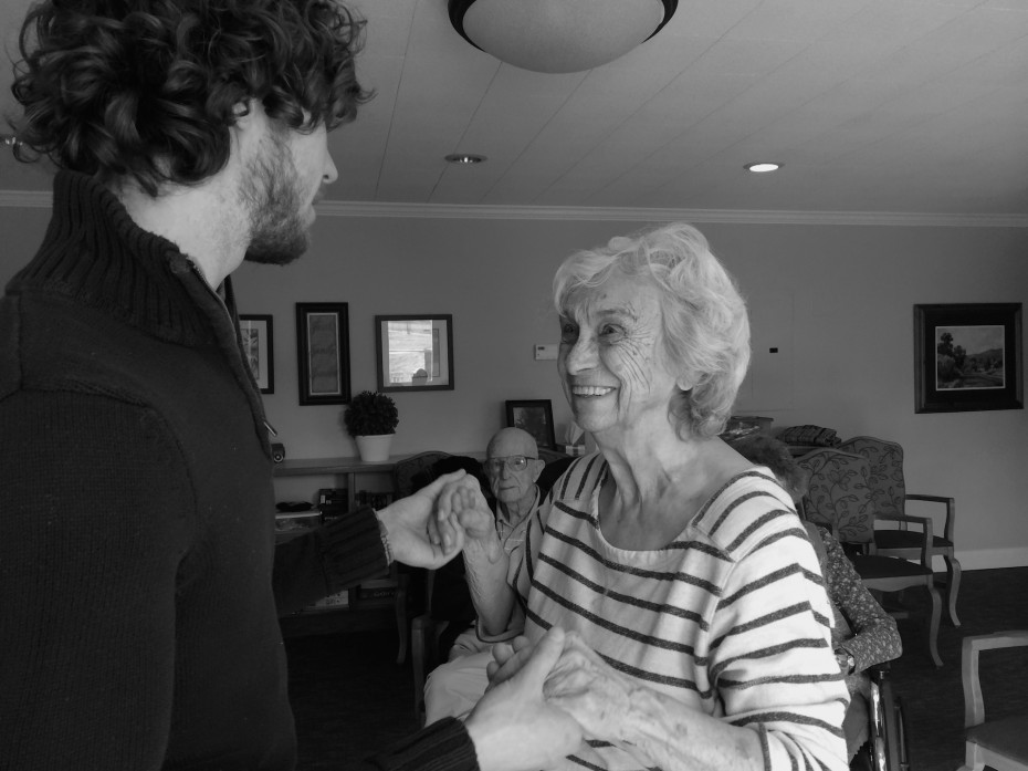 Wonderbound Company Artist Colby Foss dancing with a resident at Covenant Village retirement community.  Photo by  Amber Blais, 2014