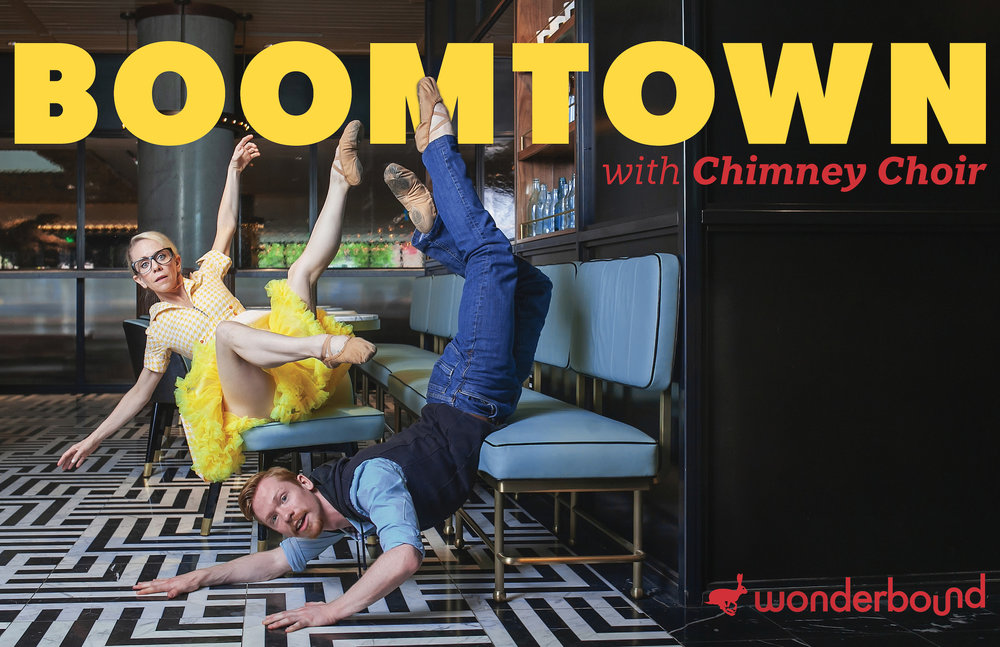 Wonderbound in Garrett Ammon's  Boomtown  with Chimney Choir. Pictured: Sarah Tallman and Ben Youngstone. Photo by  Amanda Tipton . 2018.