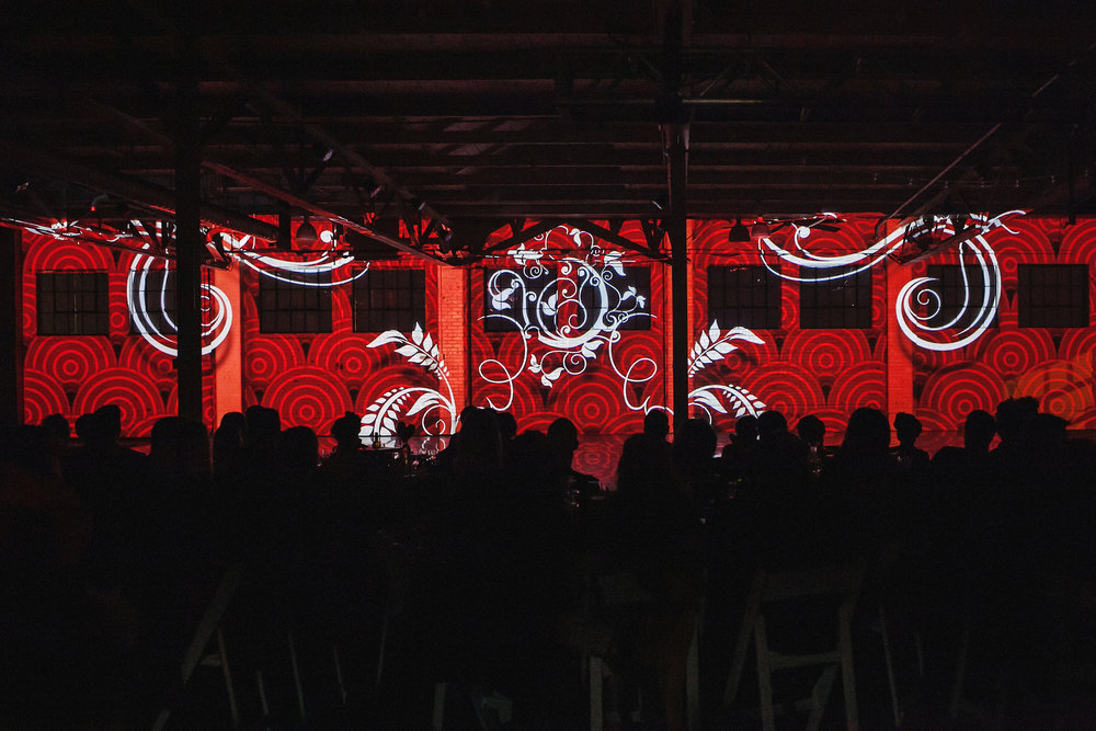 Projections by Kristopher Collins for Wonderbound's Hare Ball. Photo by  Amanda Tipton . 2014.