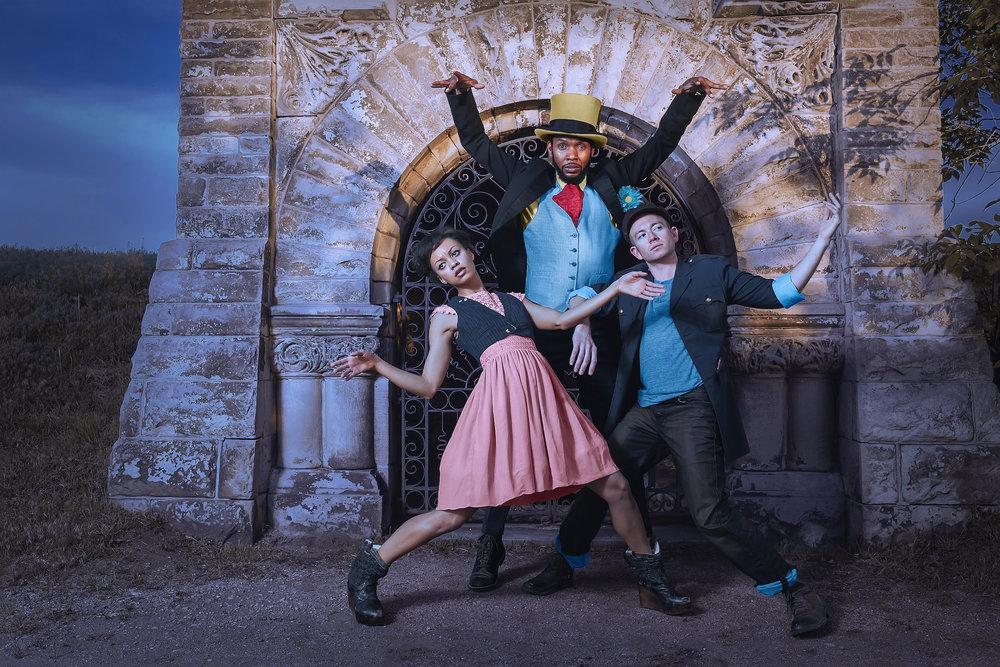 Wonderbound in Garrett Ammon's  Wicked Bayou  with The Widow's Bane. Pictured: Damien Patterson, Nayomi Van Brunt and Evan Flood. Photo by  Amanda Tipton . 2018.
