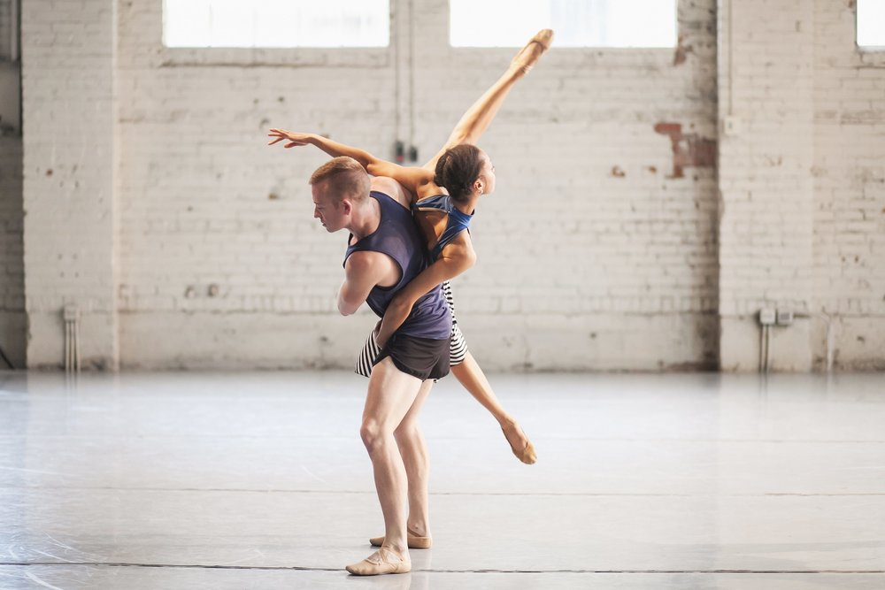 Wonderbound's Nayomi Van Brunt and Evan Flood rehearsing Garrett Ammon's  Madness, Rack, and Honey . Photo by Amanda Tipton. 2018