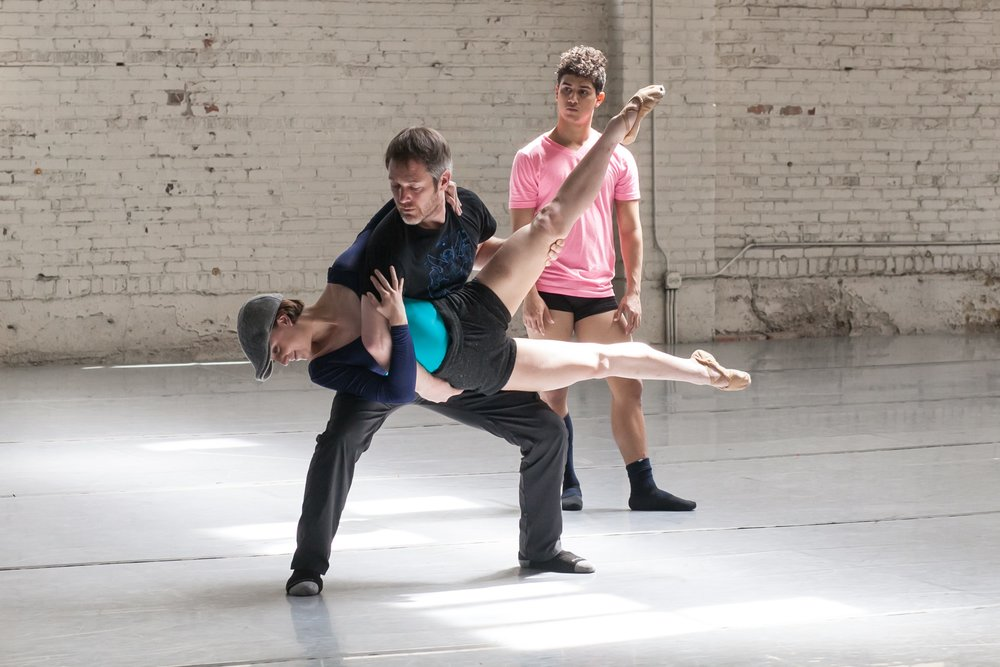 Wonderbound's Garrett Ammon, Stephanie Moffett-Hugg and Colorado Ballet's Ian Santiago in rehearsal for Garrett Ammon's,  Madness, Rack, and Honey . Photo by Amanda Tipton. 2018