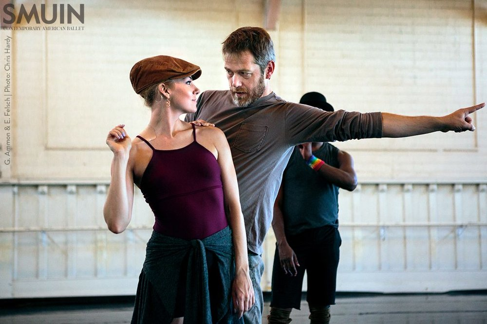 Wonderbound's Garrett Ammon and Smuin's Erica Felsch rehearsing Garrett Ammon's  Madness, Rack, and Honey . Photo by Chris Hardy. 2016.