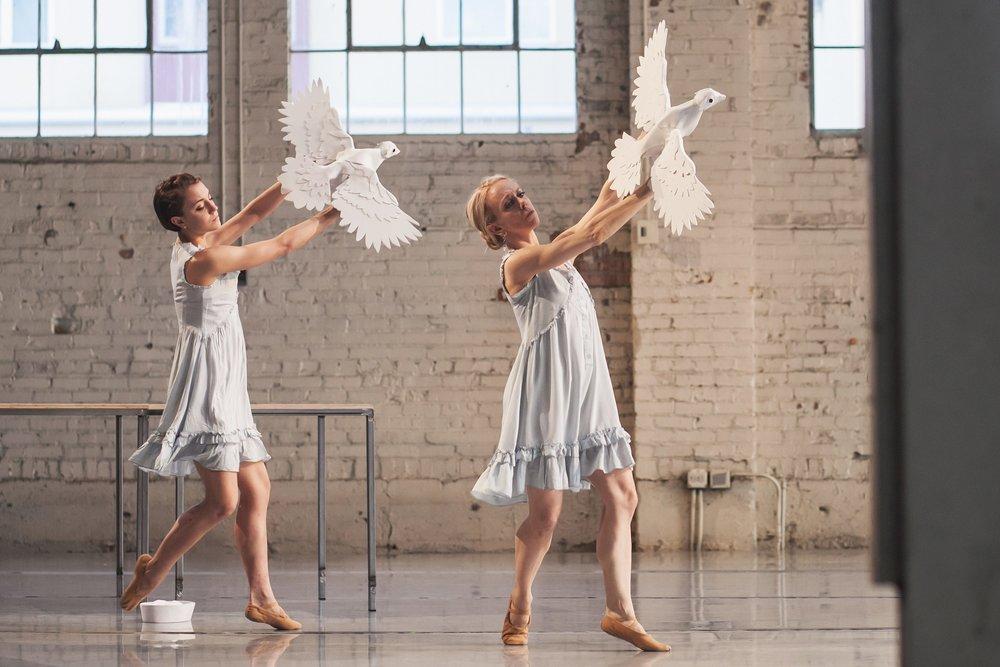 Wonderbound's Stephanie Moffett-Hugg and Sarah Tallman rehearsing Garrett Ammo's  Aphrodite's Switchboard . Photo by Amanda Tipton. 2018