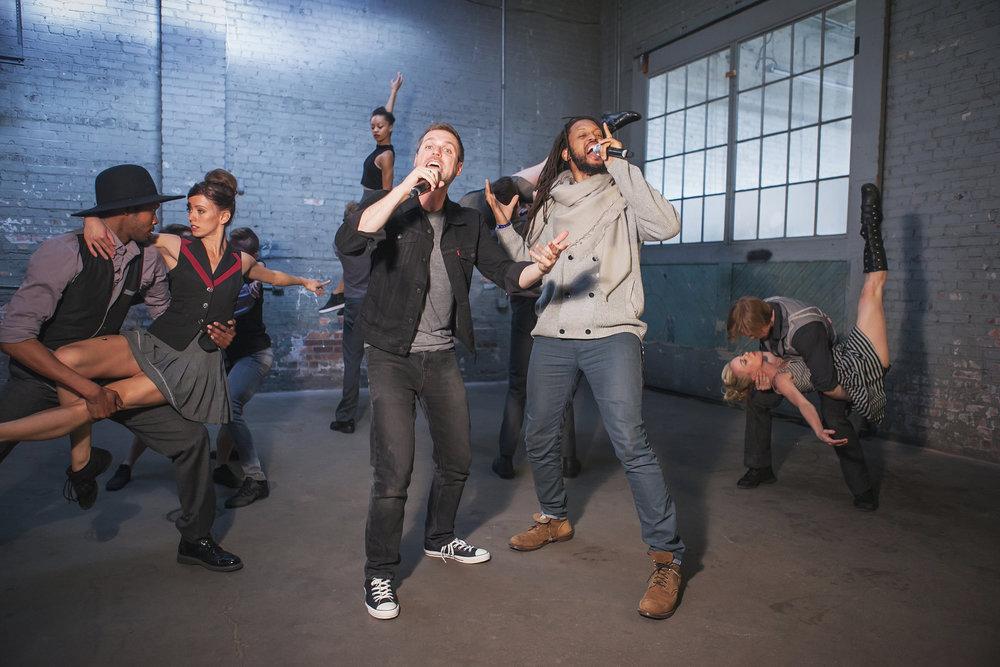 Flobots and Wonderbound dancers rehearsing Garrett Ammon's  Divisions . Photo by  Amanda Tipton . 2017.