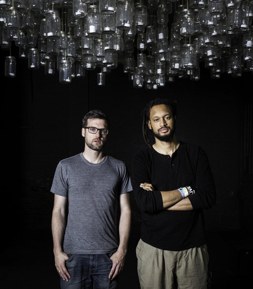 Flobots' Jamie Laurie and Stephen Brackett at Wonderbound studio.