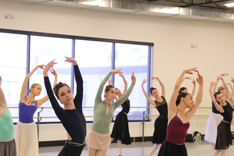 Colorado Ballet dancers rehearsing for  Firebird . Photo by Colorado Ballet. 2017.
