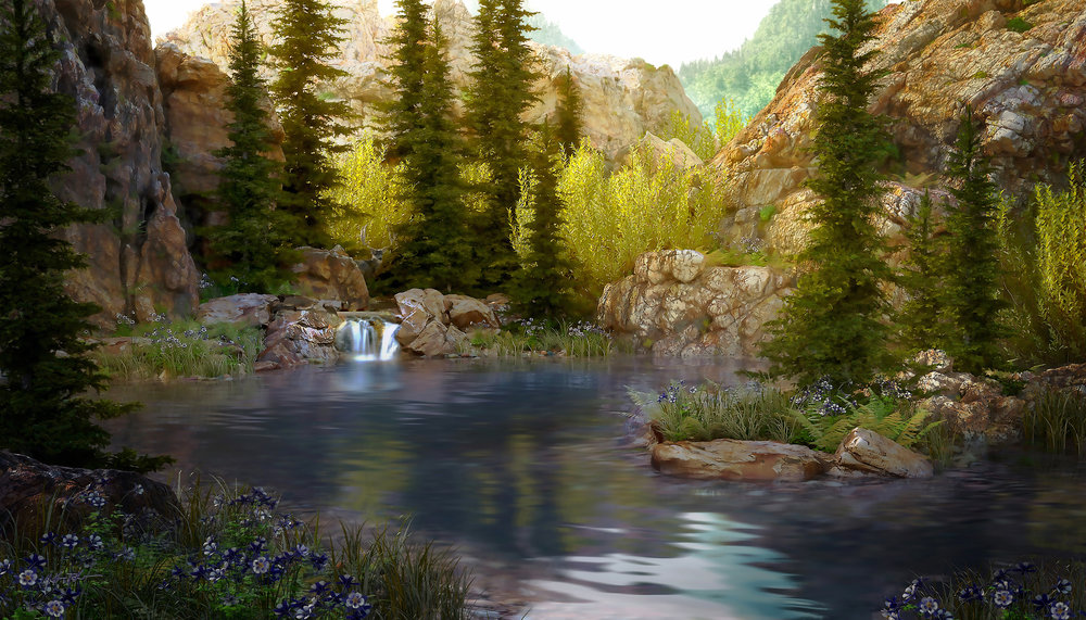 pond 3d landscape rendering