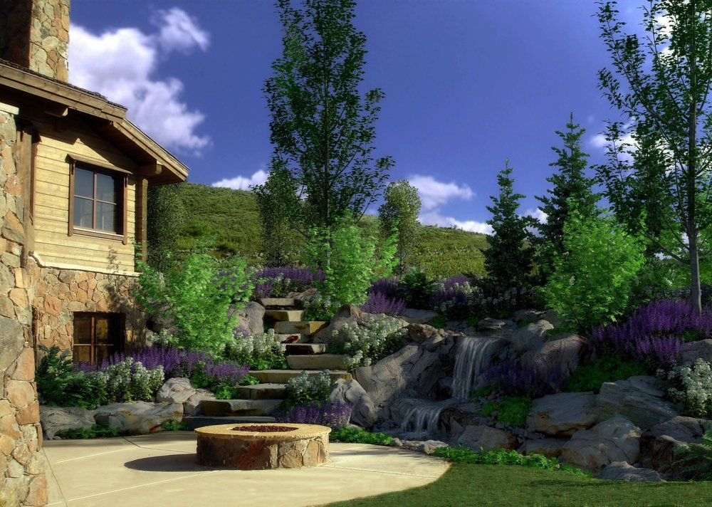 detailed stone and waterfall rendering