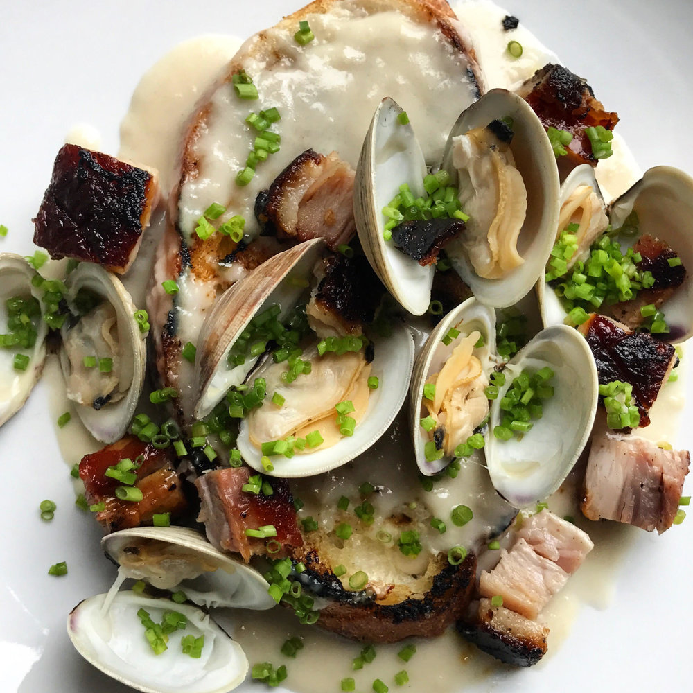 Pork Belly & Clam Toast