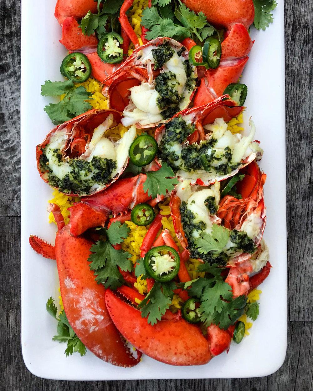 Grilled Cilantro Jalapeño Lobster