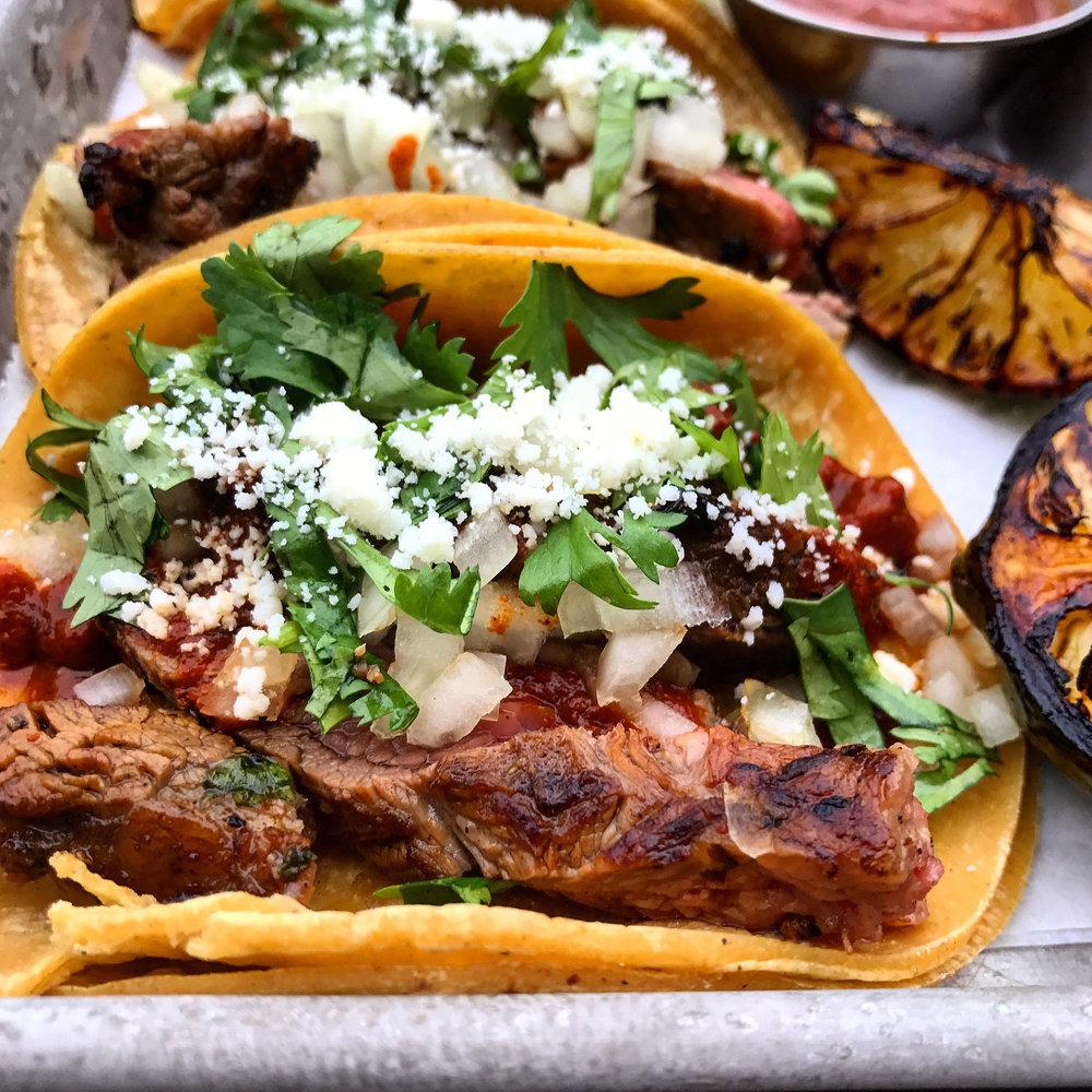 Carne Asada Tacos with Salsa Roja