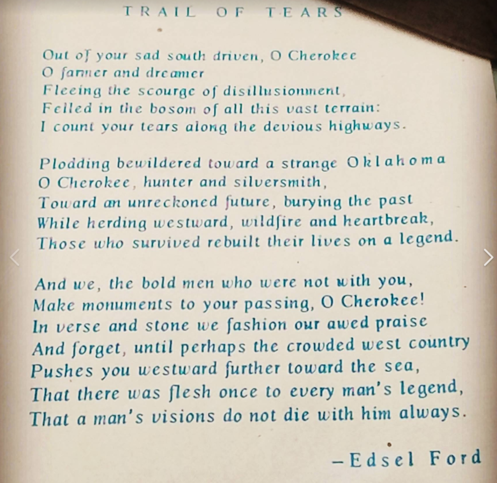 Poem on display at Blue Spring Heritage Center in Exhibit display cases.