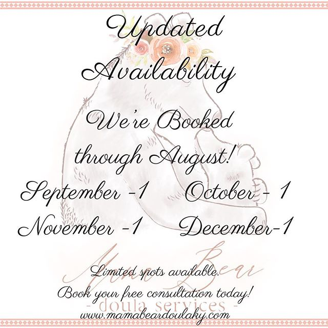 ** Updated Availability! ** We're booked up through the Summer! 💛 Opening up consultations for Fall and Winter Babies. Limited spots available! If you or someone you know are interested in Doula services, visit us at www.mamabeardoulaky.com to learn more and book your free consultation! . . Need a doula but aren't sure where to start? Head to www.doulamatch.net to find all the available Doulas in your area! 🤰🏾👶🏻💓 . . Logo Design by @sarahedunnphotoanddesign . . #doula #birthdoula #mamabeardoulaky  #mamabeardoulaservices #lexington #kentucky #sharethelex #babies #children #epidural #mama #love #women #empowerment #labor #lexingtondoula #sharethelex #DONA #pregnant #pregnancy #newborn #newborncare #momlife #newmom #naturalbirth