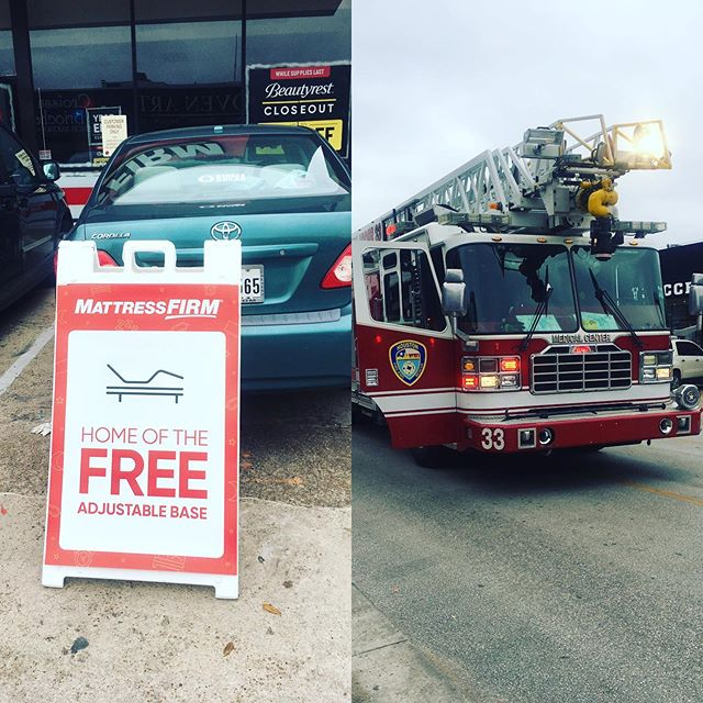 Home of the free adjustable base... I bet it's free! It's a fire sale!! How in the world do you set a mattress store on fire?? @ricevillagedistrict
