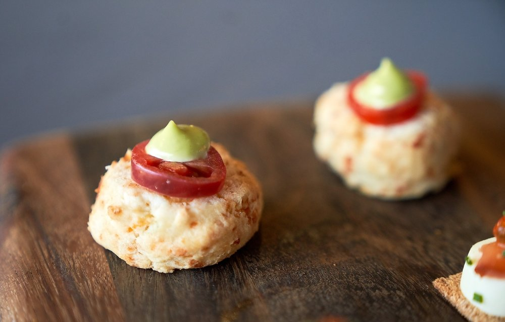 Miniature Open Faced Cheddar Biscuits