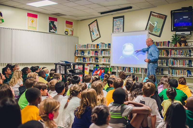 Michael presents to primary students at Tradewinds Elementary in Fort Lauderdale, FL in September 2015