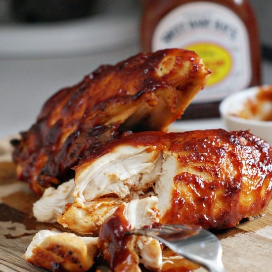 OVEN BAKED BBQ CHICKEN - 4 bone-in Chicken Breast Halves3 tablespoons olive oil1 1/2 teaspoons smoked paprika2 tablespoons fresh lemon juice3 cloves garlic minced1/2-3/4 teaspoon kosher saltpepper to taste1 cup favorite prepared BBQ sauceSee it here
