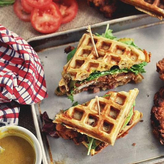 FRIED CHICKEN AND WAFFLE SANDWICHES - 6 slices Bacon, cooked and crumbled5 Scallions3 Eggs, large2 cups All-purpose flour1 1/2 tsp Baking powder1 tsp Baking soda2 tsp Black pepper, freshly cracked1/4 cup Brown sugar, light1/2 tsp SaltOils & Vinegar1 Cooking spray1/3 cup Butter, unsalted2 cups Buttermilk1 cup Cheddar cheeseSee it here