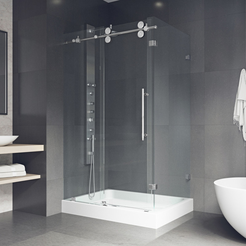 Bring modern streamlined style to your bathroom with the VIGO Winslow Frameless Sliding Door Shower Enclosure.