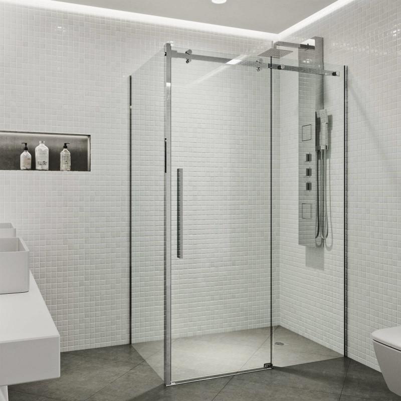 Create a sleek look in your bathroom with the VIGO Alameda Frameless Sliding Door Shower Enclosure.