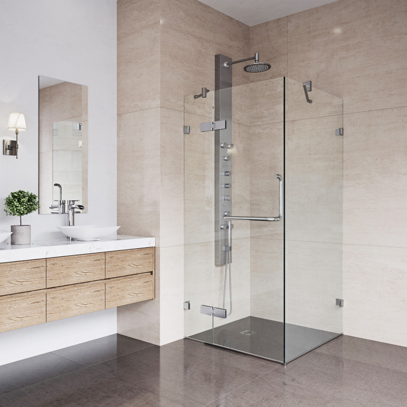 Create the modern bathroom of your dreams with the clean lines of the VIGO Monteray Frameless Shower Enclosure.